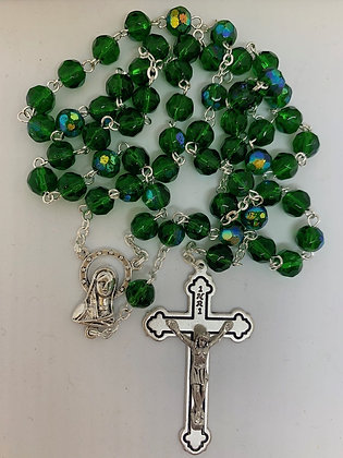 Green Glass Rosary Beads