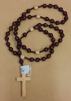 Brown  With Cream Beads Rosary Beads