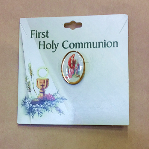 First Holy Communion Pin - Cameo of Jesus, Angel and Child