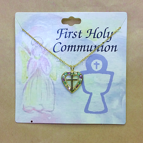 First Holy Communion Necklace - Sparkly Heart and Cross