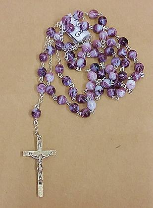 Purple Glass Rosary Beads