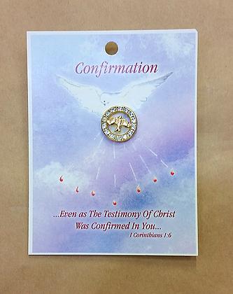 Confirmation Pin - Sparkling Circle + Dove