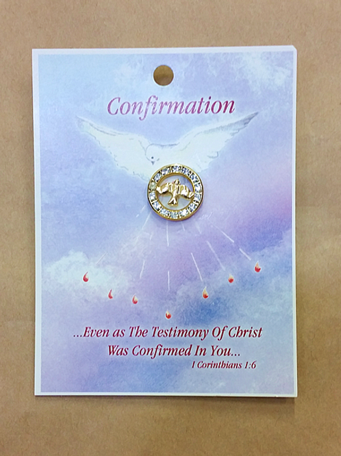 Confirmation Pin - Sparkling Circle + Dove