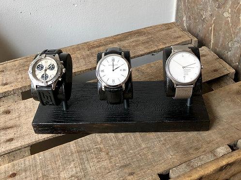 présentoir montres x3 bois brûlé