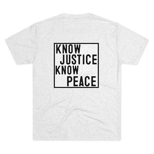 Know Justice Know Peace Black Outline Box Crew Tee