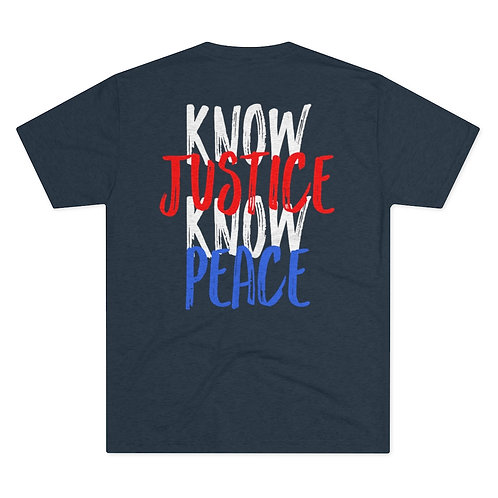 Know Justice Know Peace Red, White & Blue Crew Tee