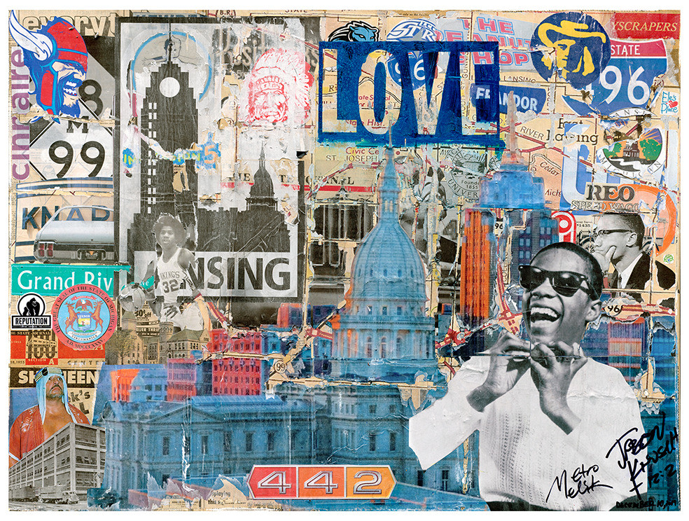 A collaborative effort between Varhaus and Lansing Made.  36x48 collage on canvas