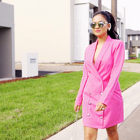 VINTAGE SPICE UP - Pink Blazer Dress