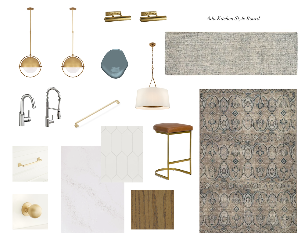 Blue, White and Gold Kitchen Style Board