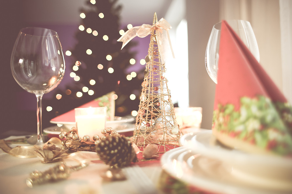 An image of a table with festive place settings.