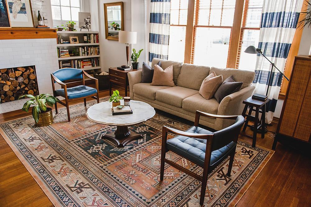 eclectic living room design historic home grand rapids michigan