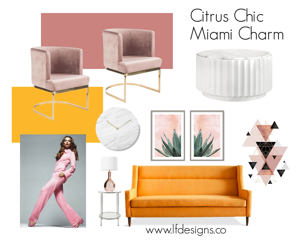 A moodboard featuring citrus colors and Miami charm.