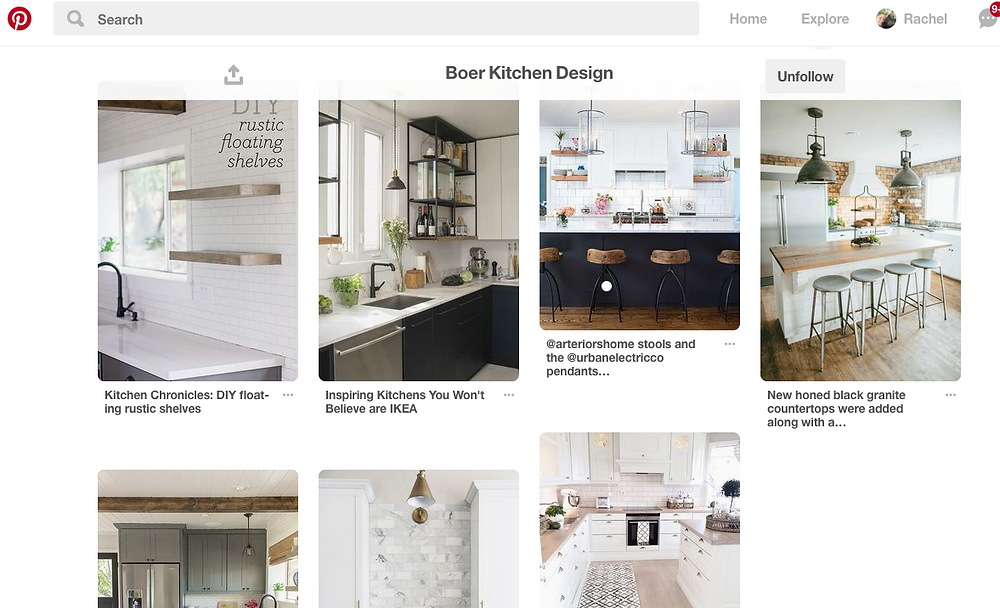 A shot of the Pinterest board used to inspire the kitchen.