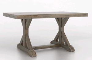 A rustic trestle table.