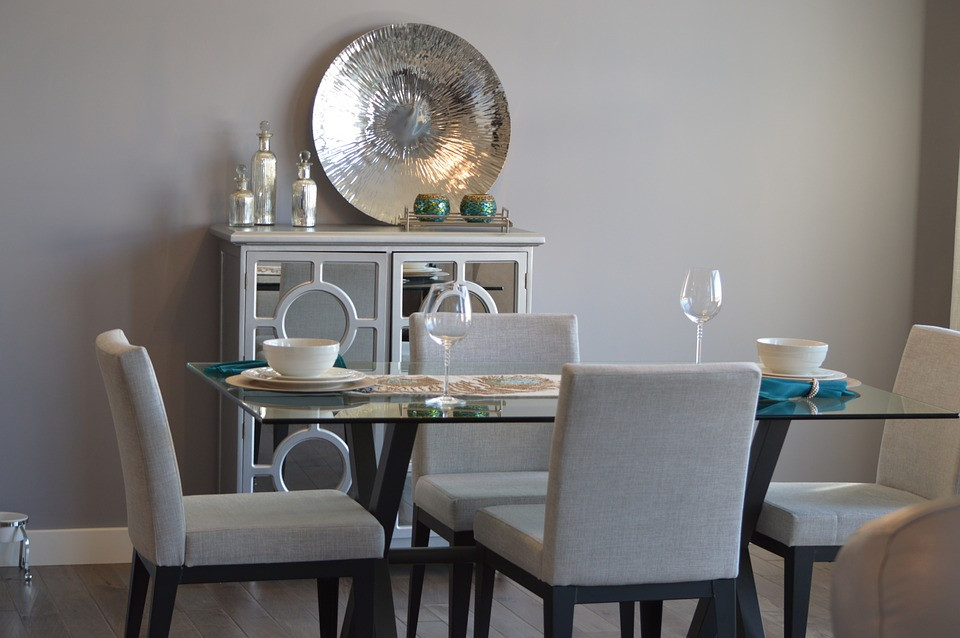 A dining room featuring gray colors.