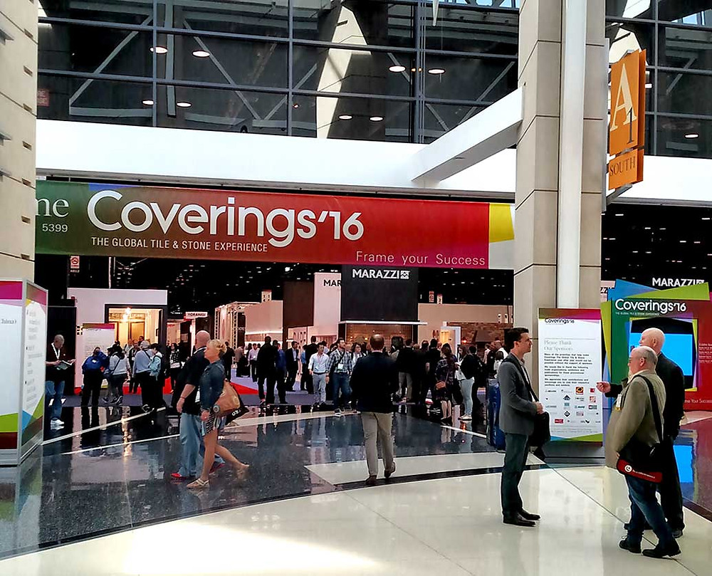An image of people gathering at Coverings' 2016 event.