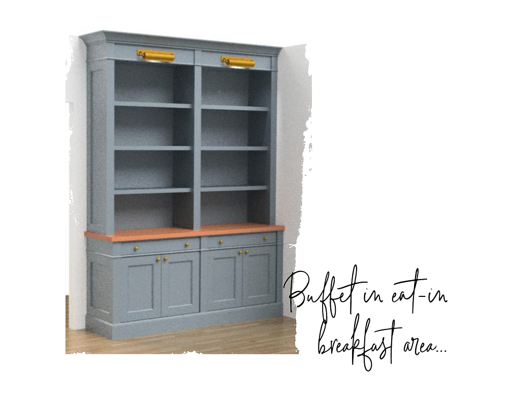Builtin Kitchen Hutch Rendering by Lauren Figueroa