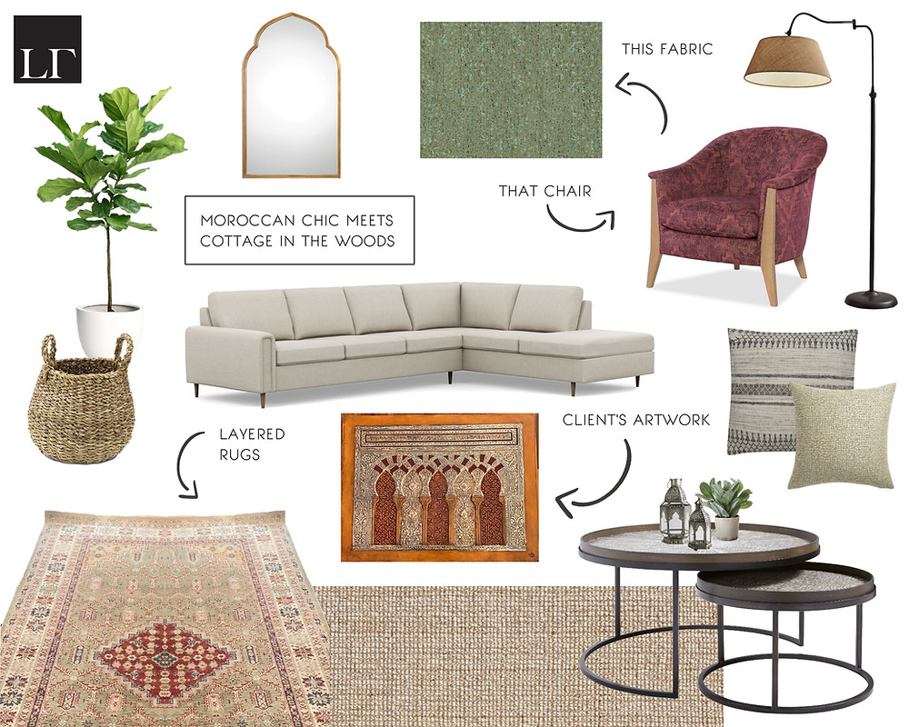 A Moroccan inspired living room mood board by LF Designs.
