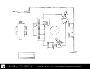 The floor plan for the refurnished great room by LF Designs.