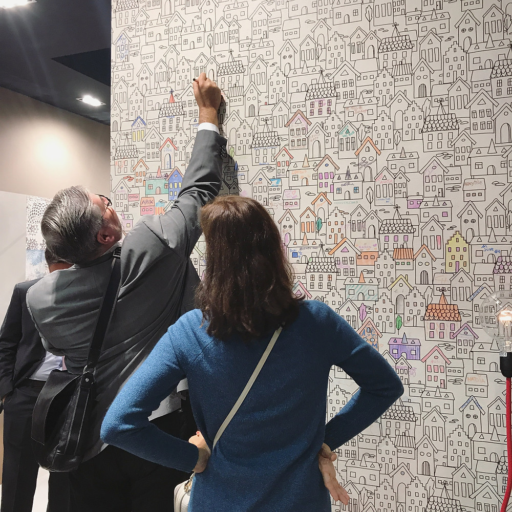 A picture of a coloring wall display designed by ABK.