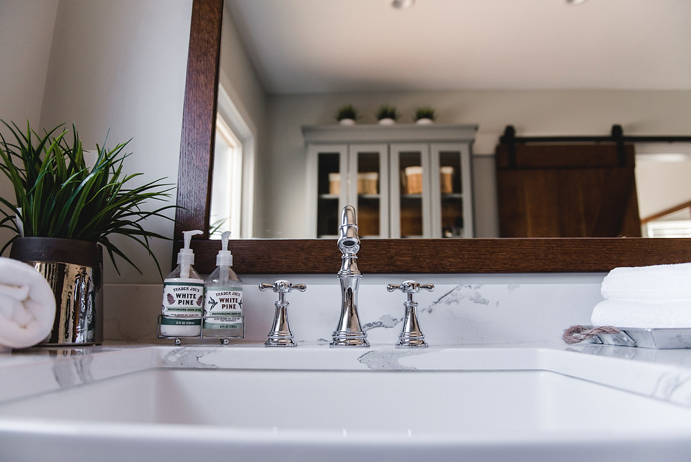 A closer view of one of the farmhouse sinks.