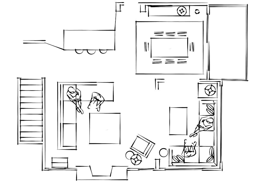 A condo layout by Lauren Figueroa Interior Designs.