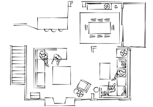 A condo layout by Lauren Figueroa Interior Designs.