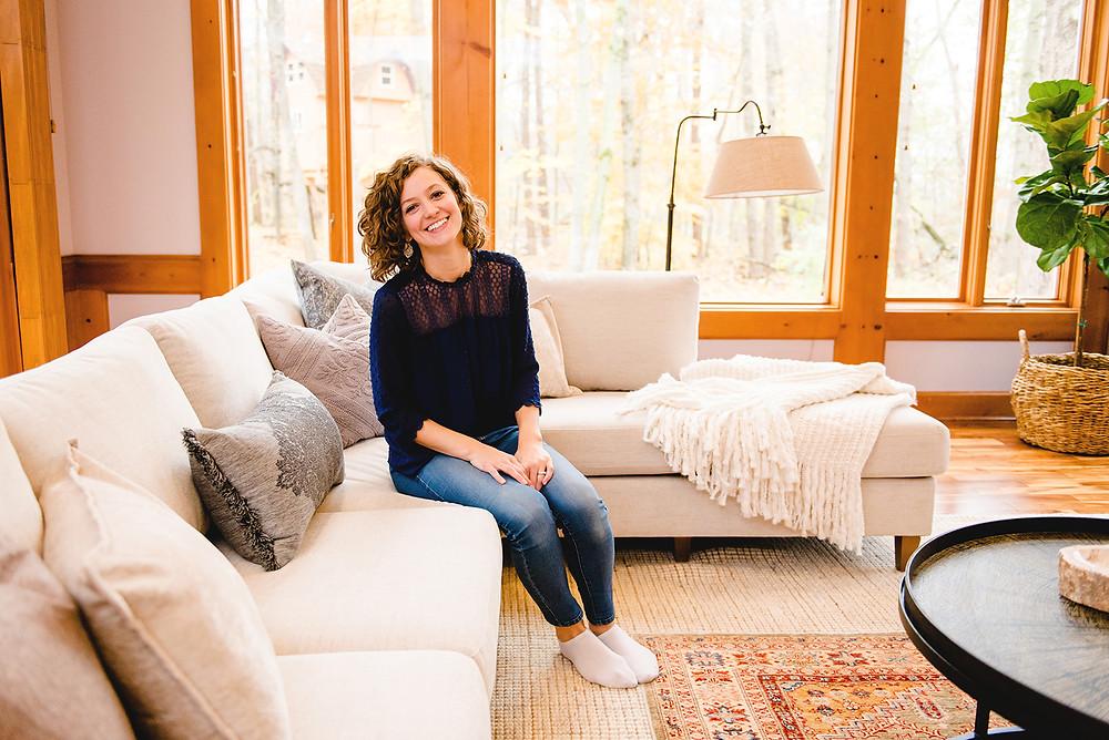 Principal designer, Lauren Figueroa, in a room designed by LF Designs.