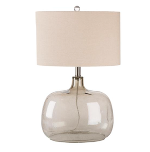 A rounded table lamp.