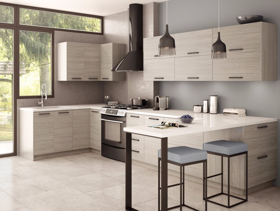 Modern cabinetry to be used in the office's kitchenette.