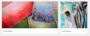 A screen capture from Artfinder's site showing floral and urban paintings.