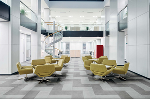 A photo of modern tile pieces from Florim USA.