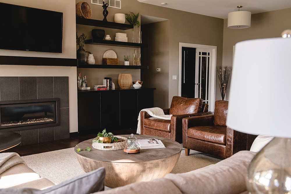 A view of the sitting area in the living room by LF Designs.