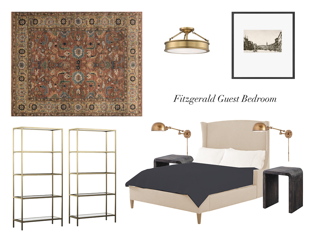guest bedroom style board; Lauren Figueroa interior design