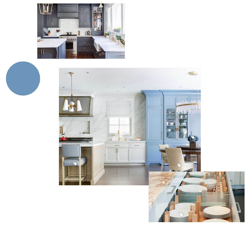 Kitchen Design Inspiration Blue White Gold