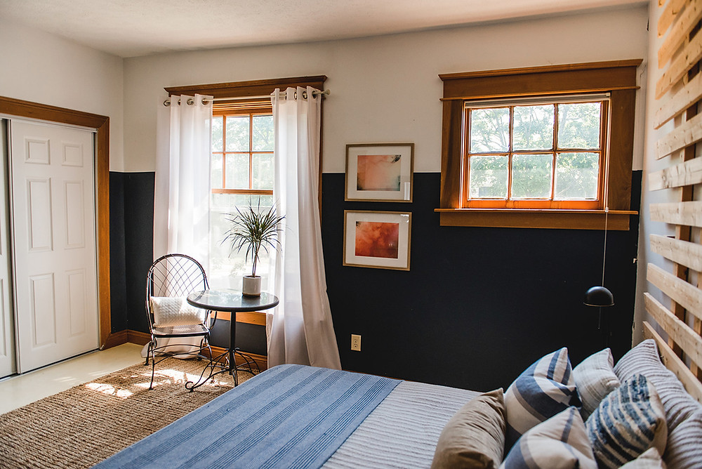 Jute area rug in blue and white master bedroom grand rapids michigan