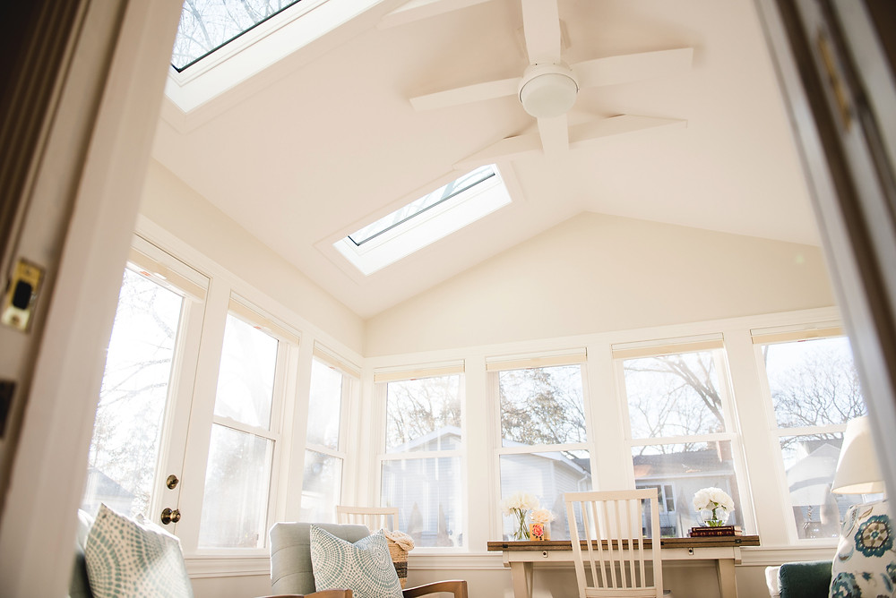 An image of the vaulted ceiling and fan.