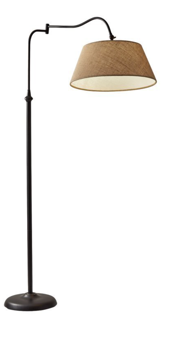 A floor lamp with a textured shade.