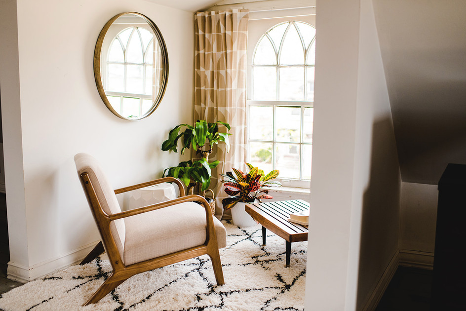 Cozy converted attic loft in hte heart of Grand Rapids, Michigan. Sip your morning coffee in this cozy reading nook.   Space by Lauren Figueroa Interior Design | Grand Rapids Mi  Click through to see shots of this space!