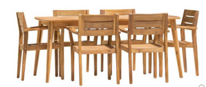 A wooden outdoor dining set.