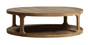 A modern coffee table brings in warm, wood tones.