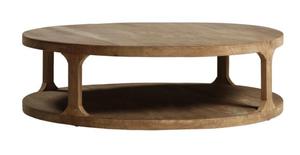 A modern coffee table brings in warm, wood tones.
