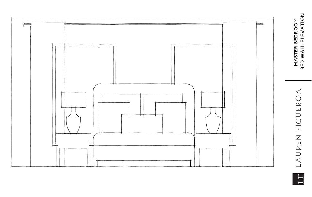 headboard wall elevation for bedroom design