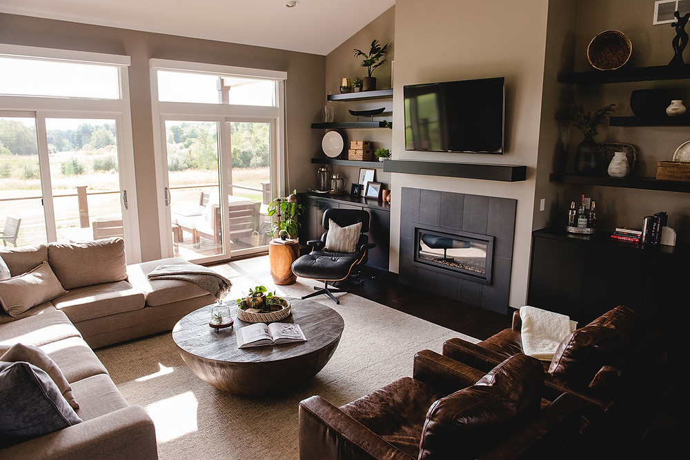 An alternate view of the living room by LF Designs.