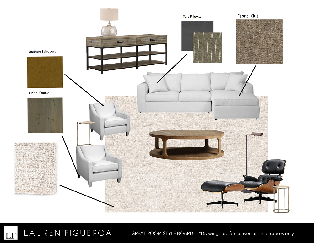 A mood board of furniture options by LF Designs.