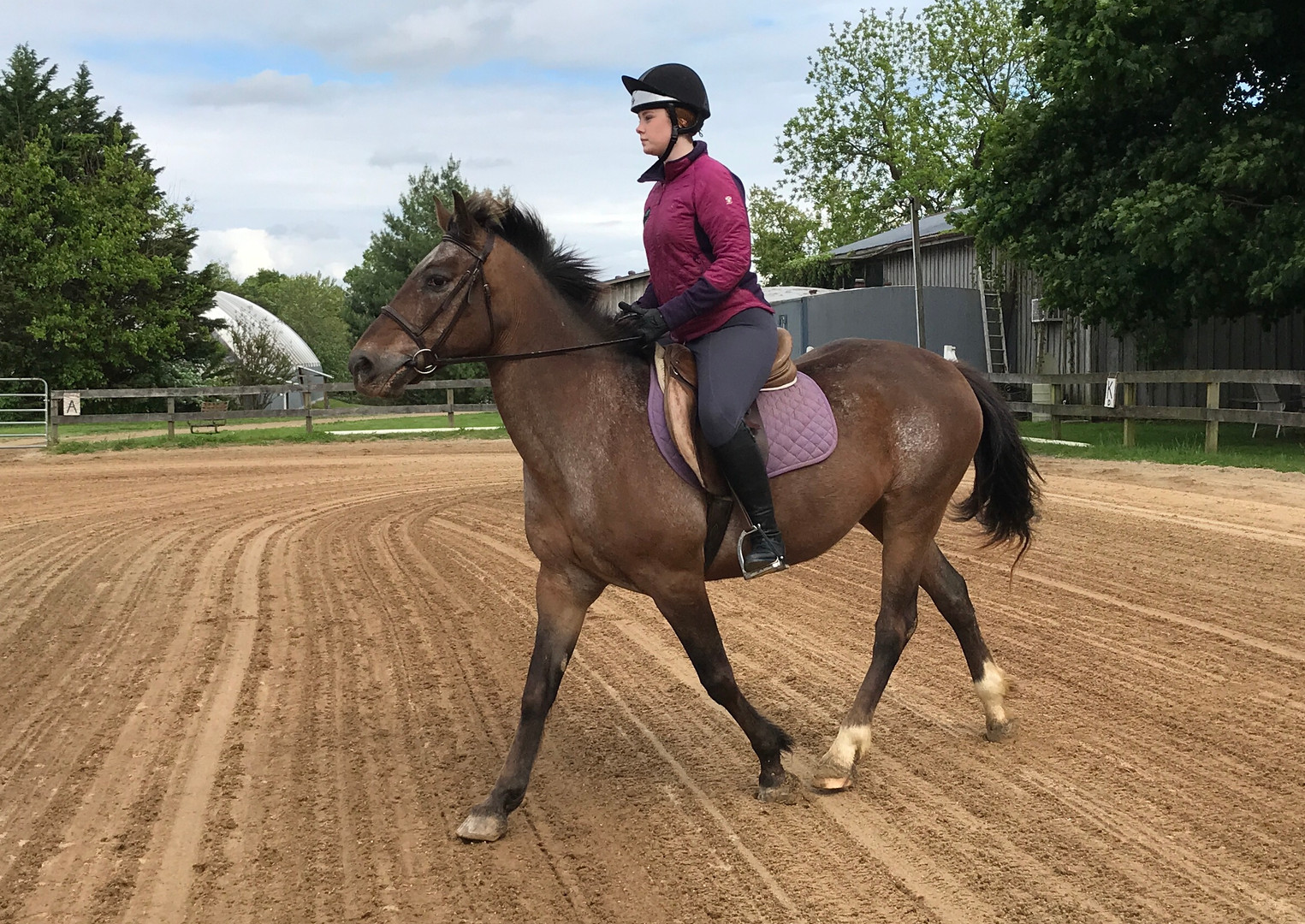 Maggie in a riding lesson