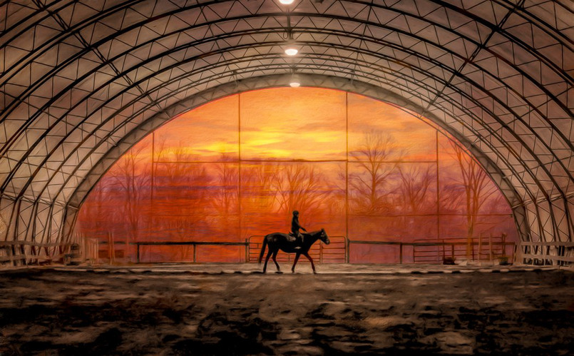Our indoor riding ring at sunset