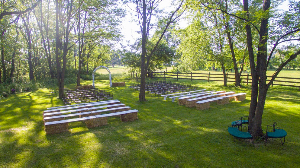 Aerial view of our secluded wedding ceremony