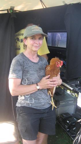 Jodi Dawson on the set of Culling Hens