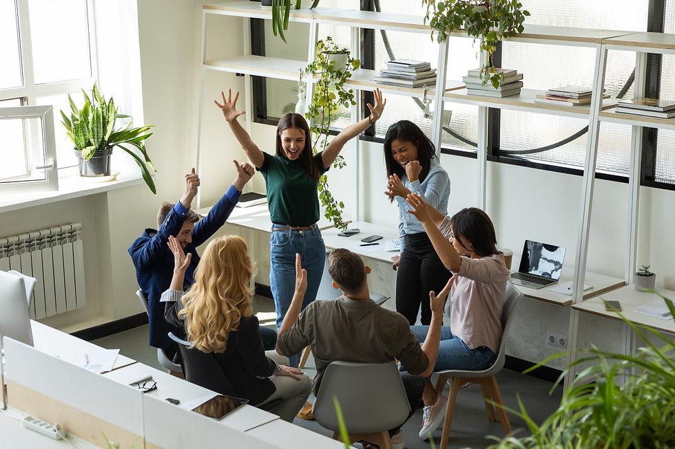 Overjoyed diverse multiethnic business people   Topanga HR